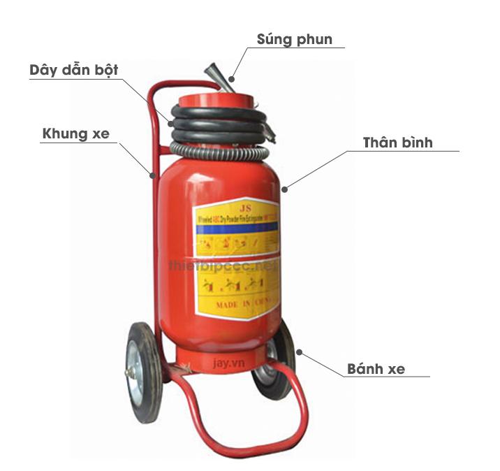 hành phần cấu tạo bình chữa cháy bột lọai lớn có xe đẩy