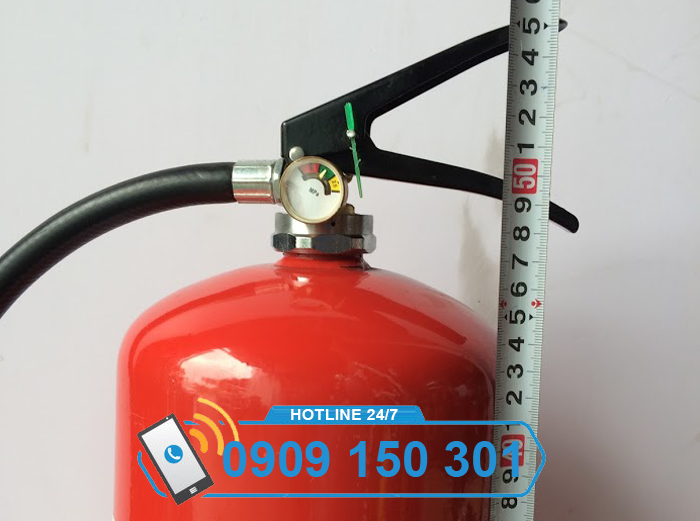 kích thước chiều cao bình chữa cháy 8kg bột ABC MFZL8
