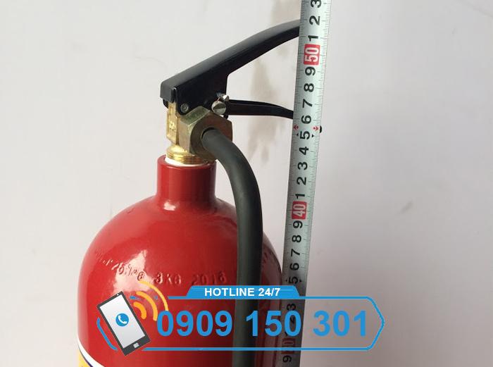 kích thước chiều cao bình chữa cháy khí CO2 MT3 3kg