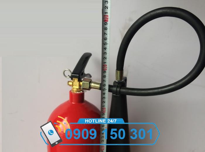 kích thước chiều cao bình chữa cháy khí CO2 MT5 5kg