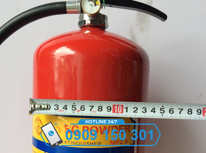 kích thước đường kính bình chữa cháy 8kg bột ABC MFZL8