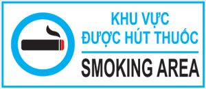 bảng khu vực được hút thuốc