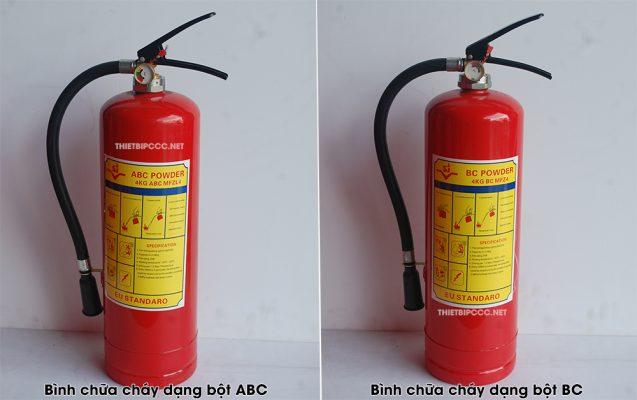So sánh bình chữa cháy bột BC và bột ABC khác nhau như thế nào?