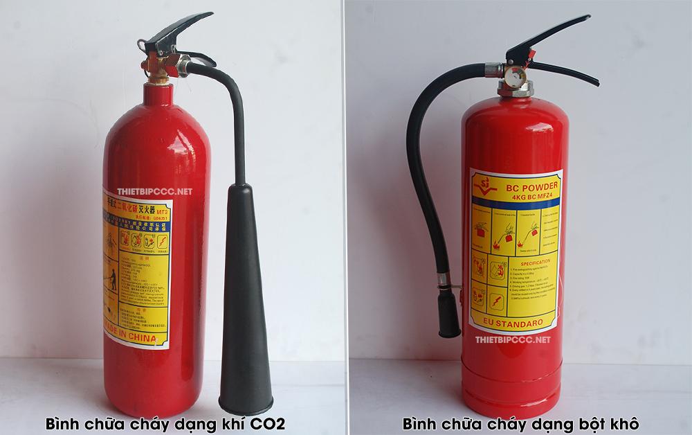 So sánh bình chữa cháy bột với bình khí CO2 nên dùng loại nào?