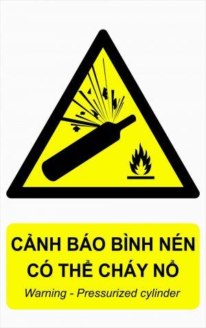 Bảng mica cảnh báo bình nén có thể cháy nổ