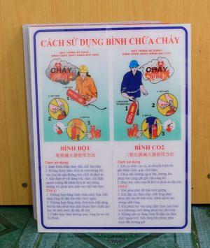 Bảng mica hướng dẫn sử dụng bình chữa cháy